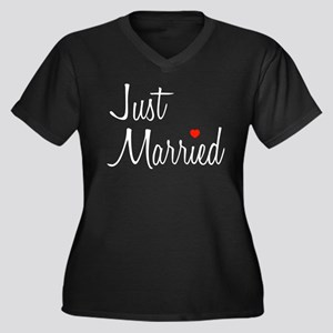 Just Married (Black Script w/ Heart) Women's Plus