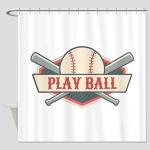 Play Ball Baseball Shower Curtain