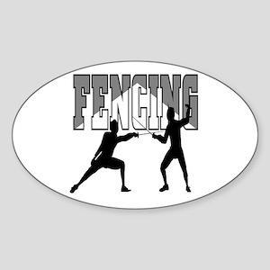 Fencing Logo (Black & Grey) Oval Sticker