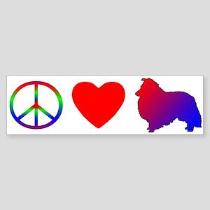 Peace Love Sheltie Bumper Sticker