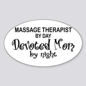 Massage Therapist Devoted Mom Oval Sticker