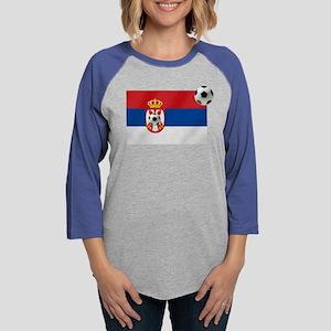 Serbia Football Flag Womens Baseball Tee