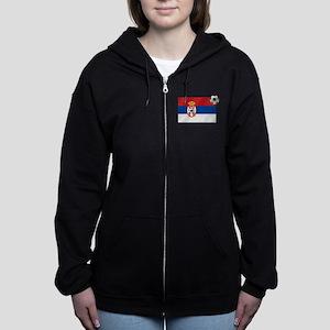 Serbia Football Flag Women's Zip Hoodie