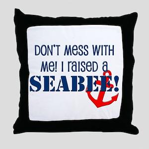 Raised a Seabee Throw Pillow