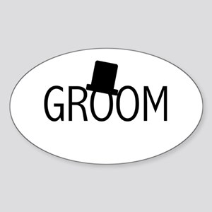 Top Hat Groom Oval Sticker
