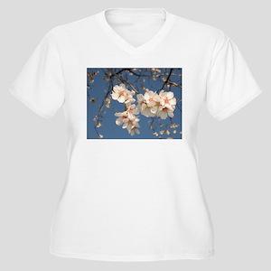 Almond Blossoms Women's Plus Size V-Neck T-Shirt
