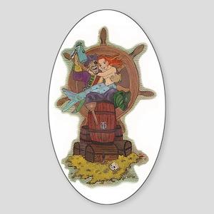 Pirate & Mermaid Oval Sticker
