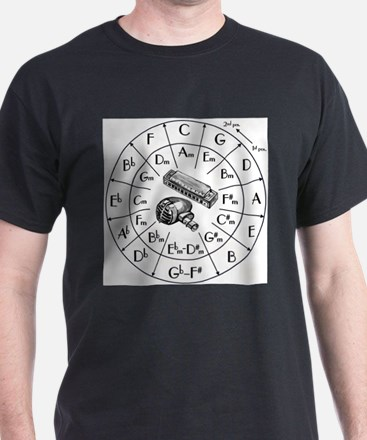 Circle of Fifths TSHIRT harpmic WHITESHIRT T-Shirt
