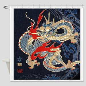 vintage japanese tattoo dragon Shower Curtain