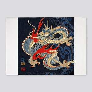 vintage japanese tattoo dragon 5'x7'Area Rug