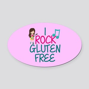 Gluten Free Rock Star Girl Oval Car Magnet