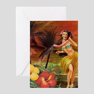 tropical palm tree flower hawaiian Greeting Cards