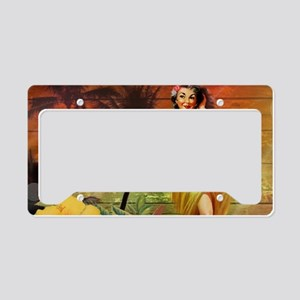 tropical palm tree flower haw License Plate Holder