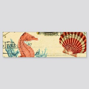 chic seahorse seashells nautical be Bumper Sticker