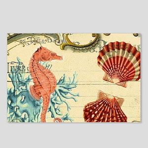 chic seahorse seashells n Postcards (Package of 8)