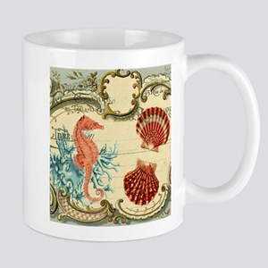 chic seahorse seashells Stainless Steel Trave Mugs