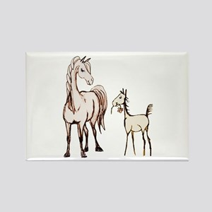 Mare and Foal Horse Rectangle Magnet