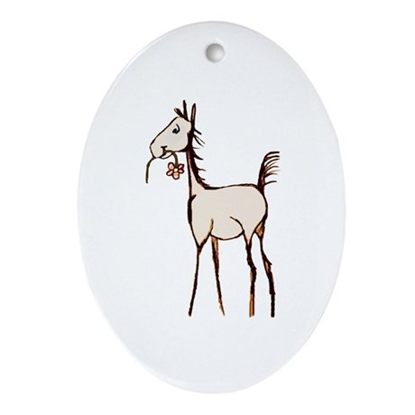 Cute Foal with Flower Oval Ornament
