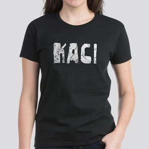 Kaci Faded (Silver) Women's Dark T-Shirt