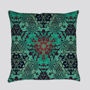bohemian chic green mandala Everyday Pillow