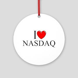 """""""I Love (Heart) NASDAQ"""" Ornament (Round)"""