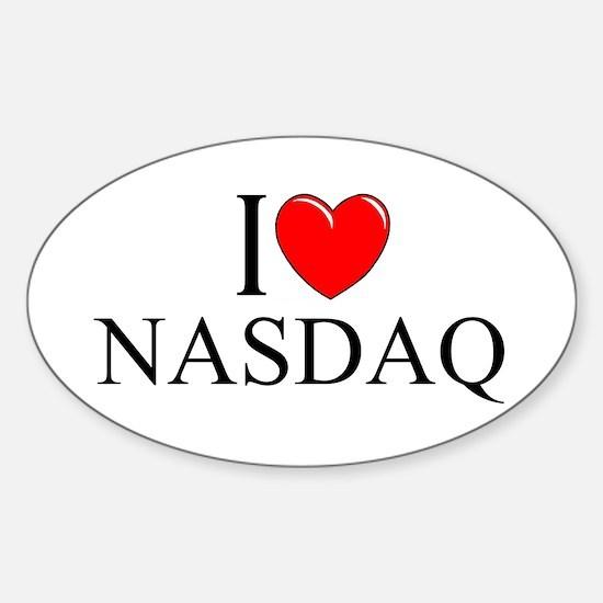 """I Love (Heart) NASDAQ"" Oval Decal"
