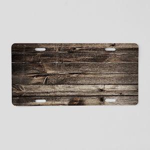 rustic barnwood western cou Aluminum License Plate
