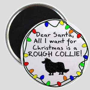 Dear Santa Rough Collie Christmas Magnet