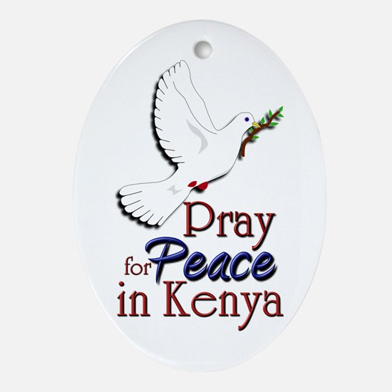 Pray for Peace in kenya - Oval Ornament