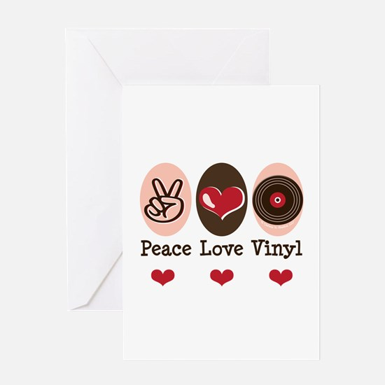 Peace Love Vinyl Record Greeting Card