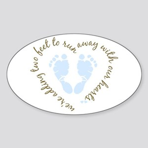 Adding Two Feet (blue) Oval Sticker