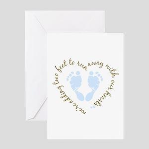 Adding Two Feet (blue) Greeting Card