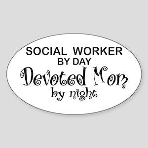 Social Worker Devoted Mom Oval Sticker