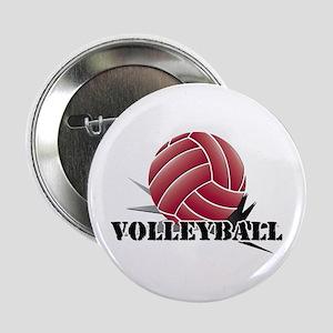 """Volleyball starburst red 2.25"""" Button"""