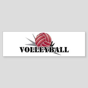 Volleyball starburst red Sticker (Bumper)
