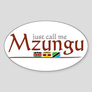 Just Call Me Mzungu - Oval Sticker