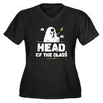 Head of the Class Women's Plus Size V-Neck Dark T-