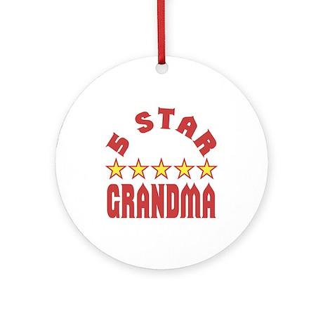 5 Star Grandma Ornament (Round)