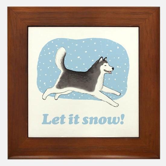 Siberian Husky Let it Snow Framed Tile