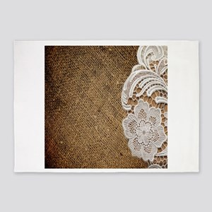 country burlap and lace 5'x7'Area Rug