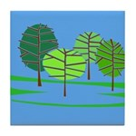 Groovy Blue Trees Tile Coaster
