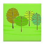 Groovy Green Trees Tile Coaster