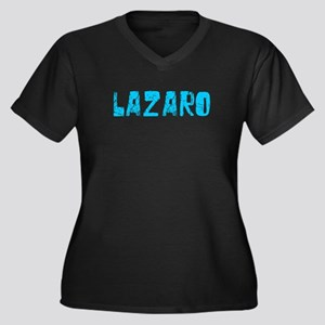 Lazaro Faded (Blue) Women's Plus Size V-Neck Dark