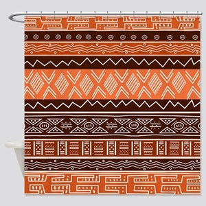 African Pattern Mix Brown Shower Curtain