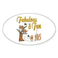 Floral 105th Oval Sticker