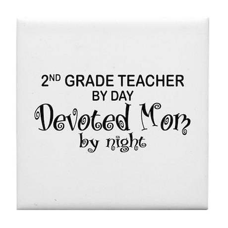 2nd Grade Teacher Devoted Mom Tile Coaster