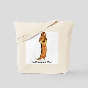 Longhair Weiner Dog Mom Tote Bag