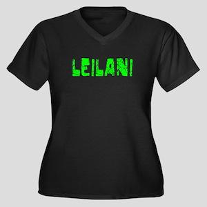 Leilani Faded (Green) Women's Plus Size V-Neck Dar