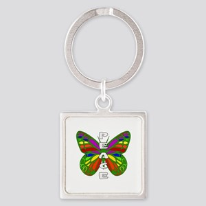 Peace Butterfly Square Keychain