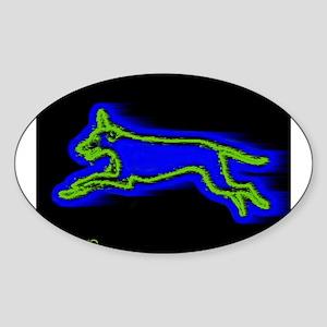 Run Dog Oval Sticker
